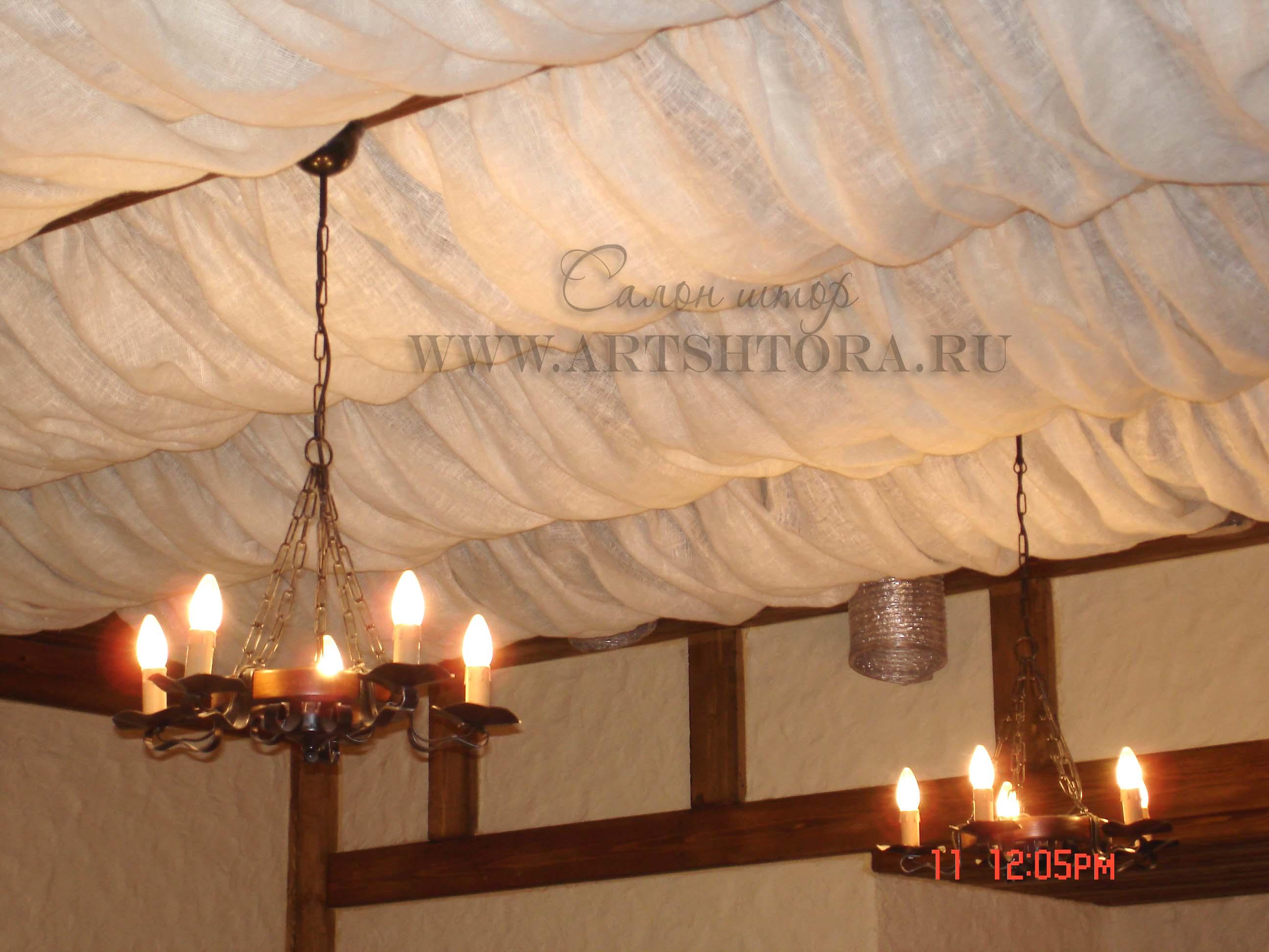 Драпировка потолка тканью своими руками мастер класс фото 88