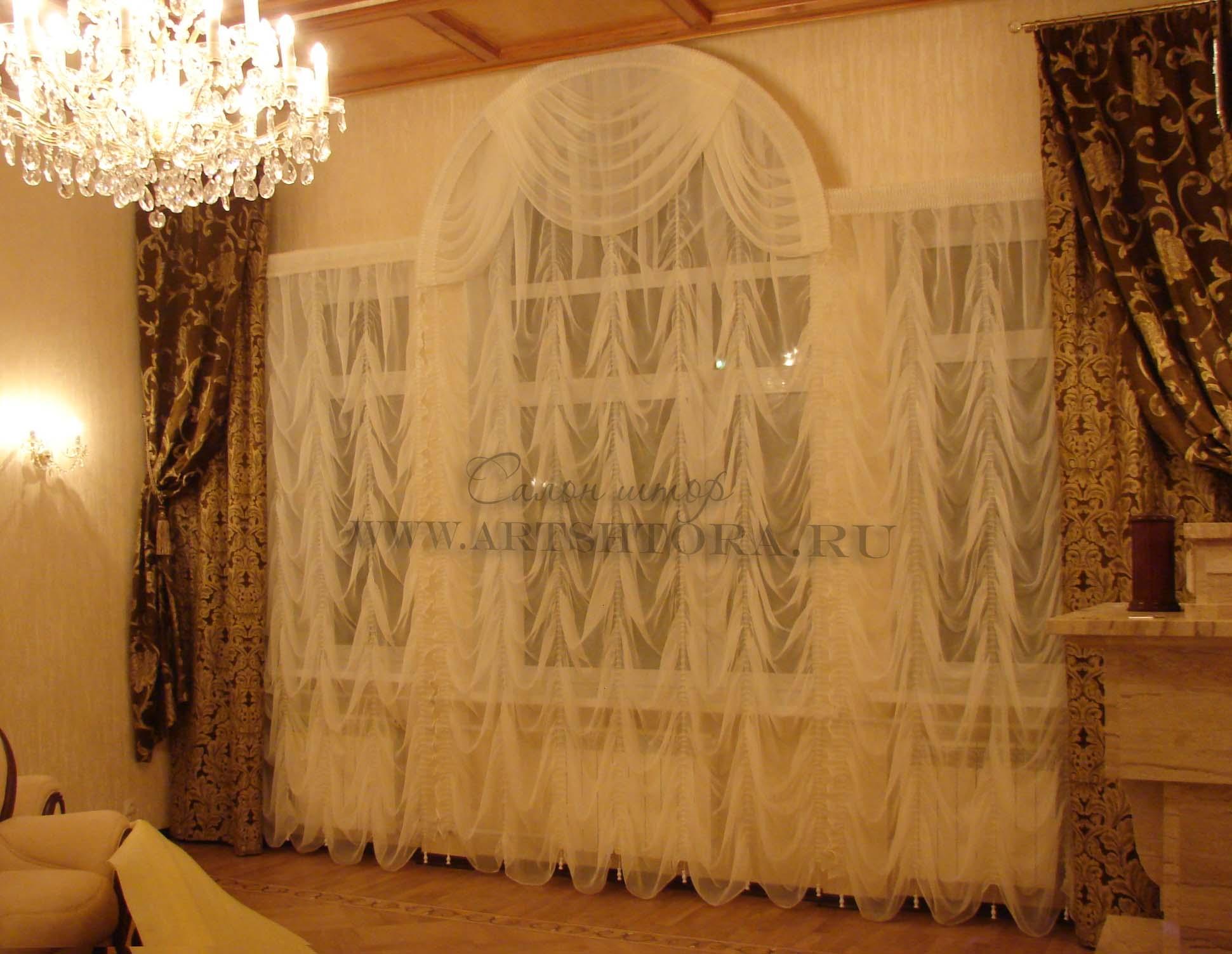 дизайн шторів та тюлі для залу фото